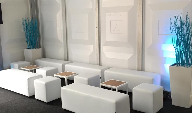 Bloembak met blauw gekleurde takken huren lounge zo - Decoratie witte lounge ...
